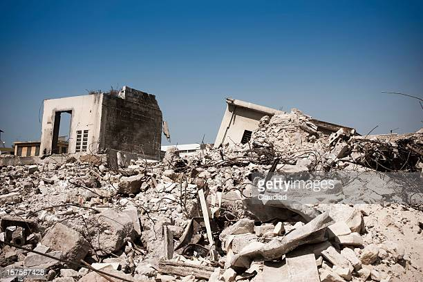 Destroyed houses after earthquake