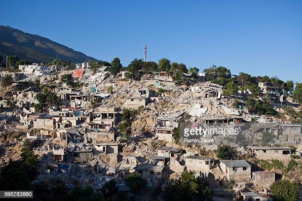 Destroyed houses on a hill in the Petionville area of PortauPrince Haiti on January 26 2010 The January 12 earthquake that hit Haiti killed about...