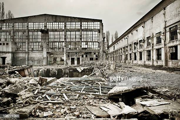 Destroyed industrial building on crisis time