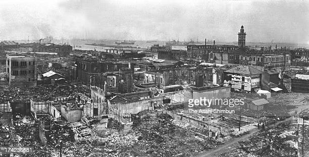 Destroyed Kaigan street and surrounding area are seen after the Great Kanto Earthquake in September 1923 in Yokohama Kanagawa Japan The estimated...