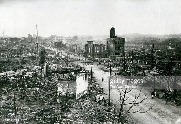 Destroyed Kanda Surugadai and Ogawamachi area after the Great Kanto Earthquake in September 1923 in Tokyo Japan The estimated Magnitude 79 strong...