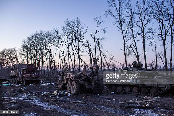 Destroyed military equipment litters the road on February 20, 2015 in Debaltseve, Ukraine. Ukrainian forces withdrew from the strategic and...
