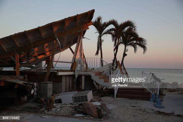A destroyed mobile home is seen after hurricane Irma passed through the area on September 18 2017 in Marathon Florida The process of rebuilding has...