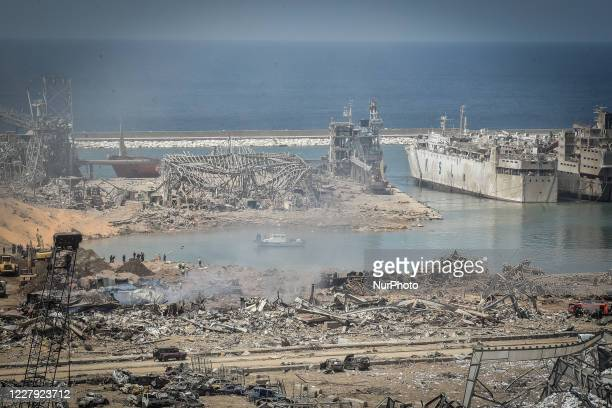 Destroyed port the day after a massive explosion at the port on August 5, 2020 in Beirut, Lebanon. According to the Lebanese Red Cross, at the moment...