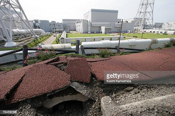 Destroyed road and pavement leading to the number three nuclear power generation unit where smoke was seen spewing at the Tokyo Electric Power Co...