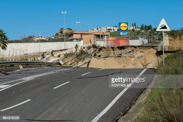 MONTESCAGLIOSO BASILICATA ITALY A destroyed road because of the wide landslide unleashed in recent days by the heavy rains of the hurricane that hit...