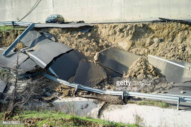 Destroyed road because of the wide landslide unleashed in recent days by the heavy rains of the hurricane that hit the Neptune Basilicata, in...