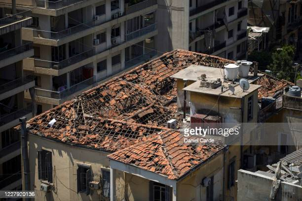 Destroyed rooftop is visible a day after a massive explosion occurred at the port on August 5, 2020 in Beirut, Lebanon. As of Wednesday morning, more...