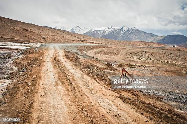 Destroyed section of the Pamir highway, Tajikistan