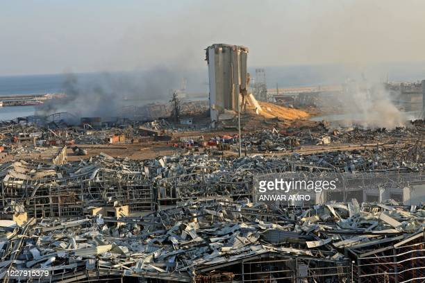 Destroyed silo is seen amid the rubble and debris following yesterday's blast at the port of Lebanon's capital Beirut, on August 5, 2020. - Rescuers...