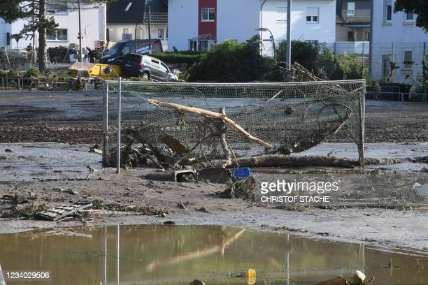 Destroyed sports field is seen in Bad Neuenahr-Ahrweiler, western Germany, on July 17, 2021. - Devastating floods in Germany and other parts of...