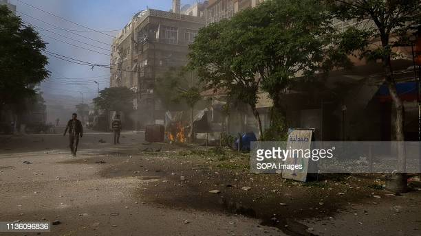 Destroyed street seen after the air strikes. Forces loyal to the Syrian government on 6 April 2018 carried out air strikes on rebel-held Douma....