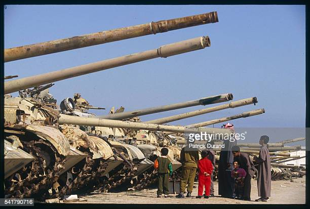 Destroyed tanks on display at the International Fair two years after the Gulf War