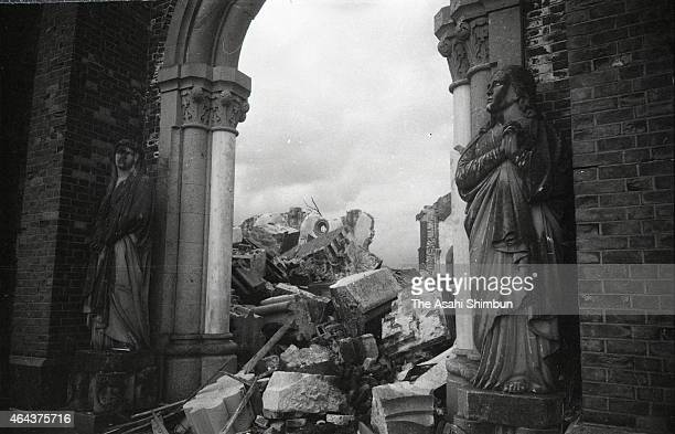 Destroyed Urakami Cathedral is see just after the Atomic bomb was dropped in August 1945 in Nagasaki, Japan. The world's first atomic bomb was...