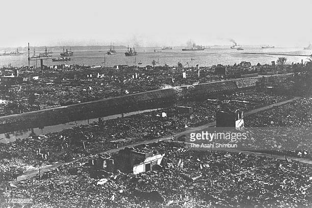 Destroyed Yamashitacho area after the Great Kanto Earthquake in September 1923 in Yokohama Kanagawa Japan The estimated Magnitude 79 strong...