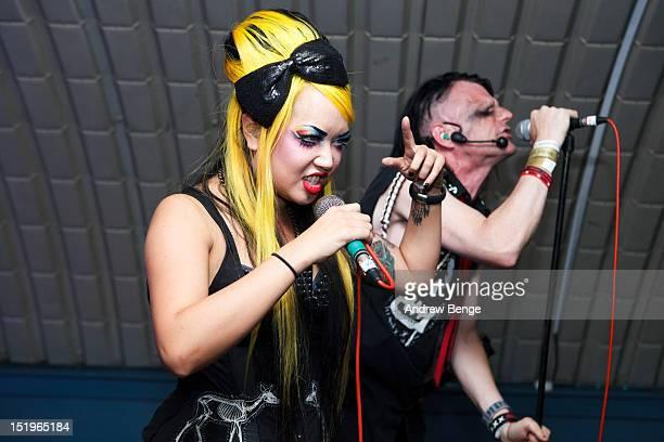 Destroyx and ZooG of Angelspit performs on stage at Cockpit on September 13, 2012 in Leeds, United Kingdom.