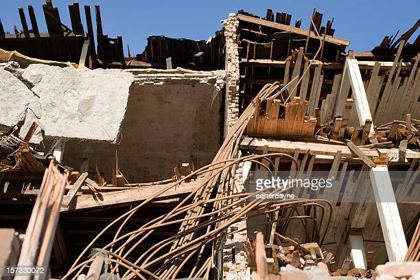 destruction and aftermath of earthquake or natural disaster - collapsing stock pictures, royalty-free photos & images