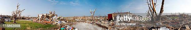 Destruction and debris from an EF5 tornado covers the ground in this 360 degree panoramic view on June 6, 2011 in Joplin, Missouri. The powerful...