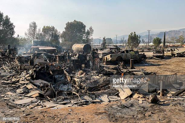 Destruction brought by Blue Cut Fire on Hess RoadThe Blue Cut fire exploded out of control Tuesday in the Cajon Pass scorching 18000 acres and...