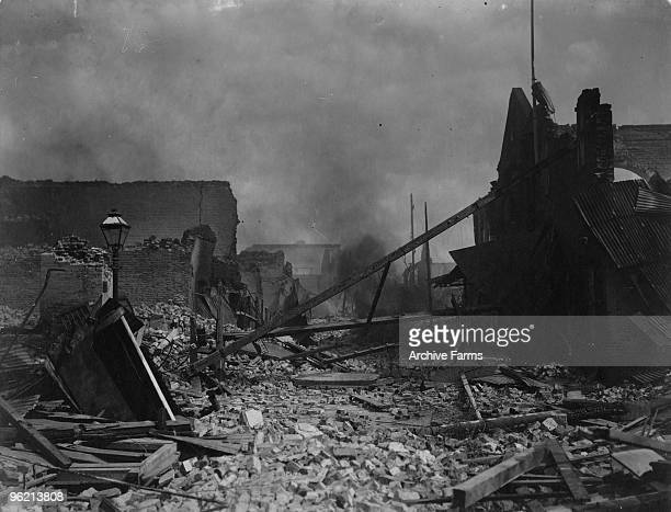 Destruction in Kingston Jamaica caused by the earthquake on January 14 1907