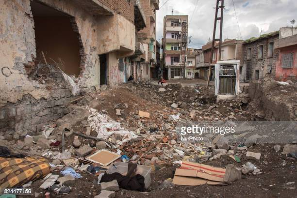 Destruction in the streets of the Sur district in Diyarbakir Turkey From the autumn of 2015 to the spring of 2016 Sur underwent military operations...