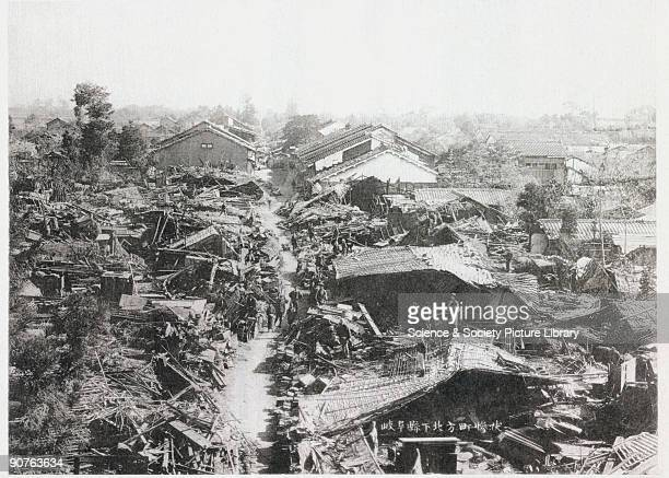 Destruction in the town of Gifu, from 'The great earthquake in Japan, 1891' by John Milne , published in Yokohama, c 1892. Milne was a professor at...