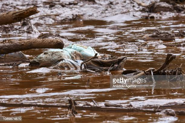 Destruction is seen after a tailings dam collapsed at an iron ore mine in Brumadinho state of Minas Gerias in southeastern Brazil on January 26 2019...