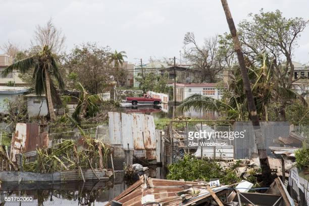 Destruction is seen days after Hurricane Maria made landfall, on September 22, 2017 in Loiza, Puerto Rico. Many on the island have lost power,...