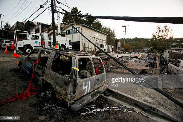 Destruction is seen in the aftermath of a gas line explosion September 10 2010 in San Bruno California The explosion rocked a neighborhood near San...