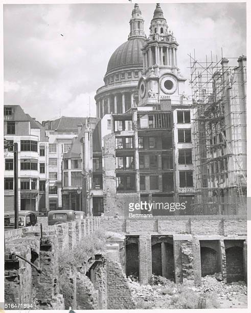 Destruction of London after German attack Near St Paul's Cathedral ca 1940s