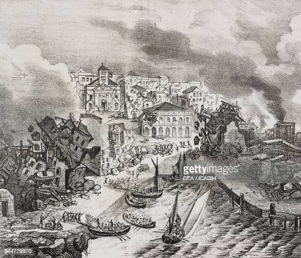 Destruction of PointeaPitre during the earthquake on February 8 Guadeloupe Overseas Department of France lithograph by Salvatore Puglia from...