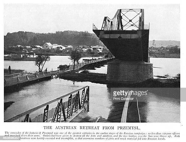 Destruction of Przemysl, Poland, by Austrians retreating from the Russian advance, World War I, 1914. Remains of one of two bridges over the San...