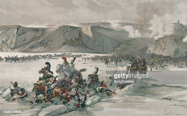Destruction of Retreating Russians at Satschan Lake' . Retreat by Russian forces that had been defeated by the French at the Battle of Austerlitz ....