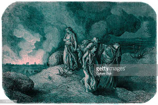 Destruction of Sodom and Gomorrah by brimstone and fire Lot and his family are spared but his wife turning her head back becomes a pillar of salt...