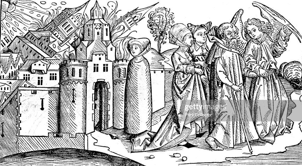 Destruction of Sodom and Gomorrah by earthquake, 1493. Artist: Anon : News Photo