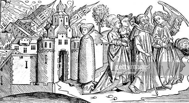 Destruction of Sodom and Gomorrah by earthquake 1493 Fifteenth century depiction of a biblical event thought to have occurred c1900 BC Lot's wife is...