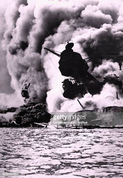 Destruction of the Battleship Arizona During the Japanese Attack on Pearl Harbor Hawaii 1941