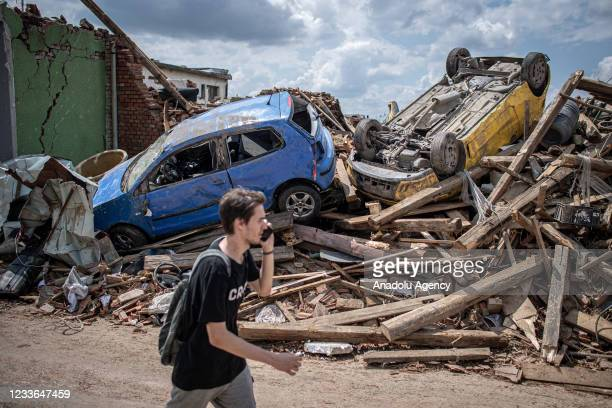 Destruction of the car after a tornado hit in Mikulcice, Czech Republic on June 25, 2016 June 2021. At least three people died and dozens were...
