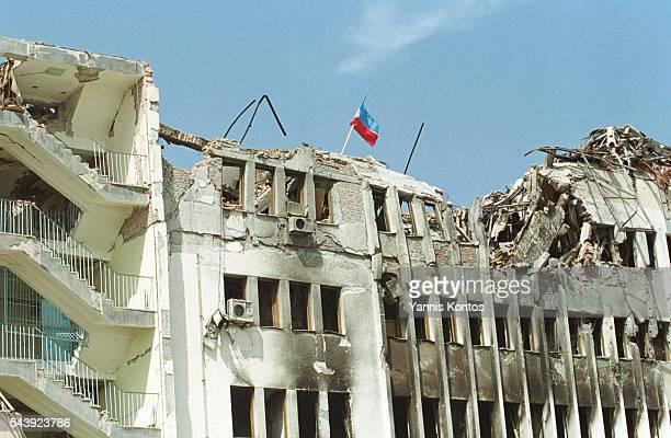 Destruction of the Pristina post office.