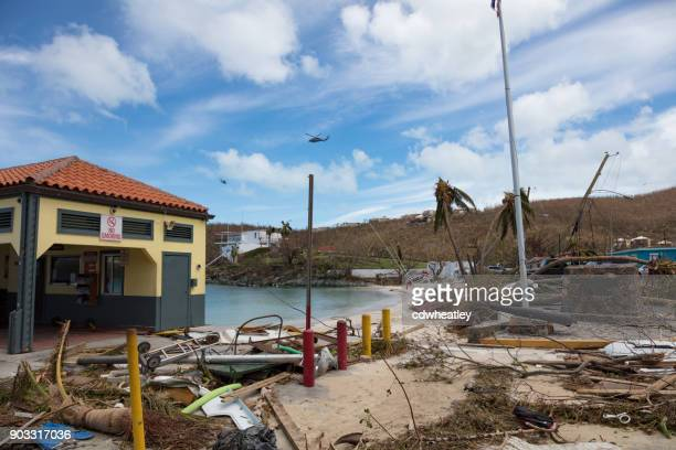 destruction on cruz bay ferry dock, hurricane irma, st john - spoil system stock pictures, royalty-free photos & images