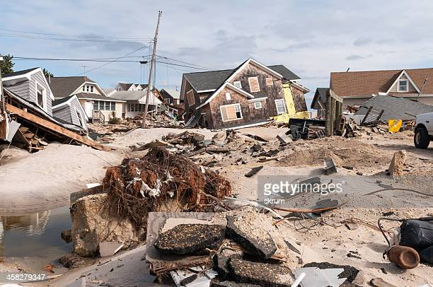 destruction on the jersey shore - barrier_islands stock pictures, royalty-free photos & images