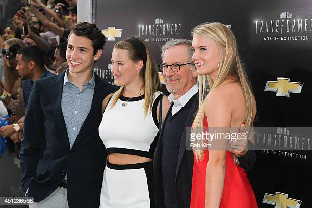 Destry Allyn and Steven Spielberg and guests attend Transformers Age Of Extinction New York Premiere at Ziegfeld Theater on June 25 2014 in New York...