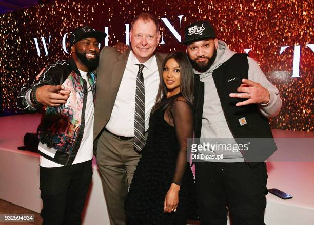 Desus Nice Peter Olsen Toni Braxton and The Kid Mero attend the 2018 AE Upfront on March 15 2018 in New York City