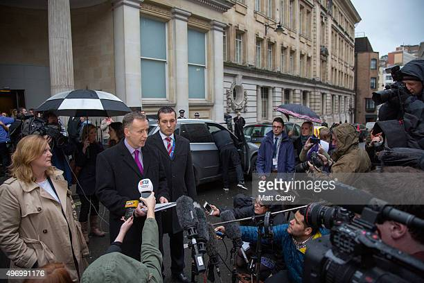 Det Supt Mike Courtiour, from Avon and Somerset Police reads a statement to the media outside Bristol Crown Court on November 13, 2015 in Bristol,...