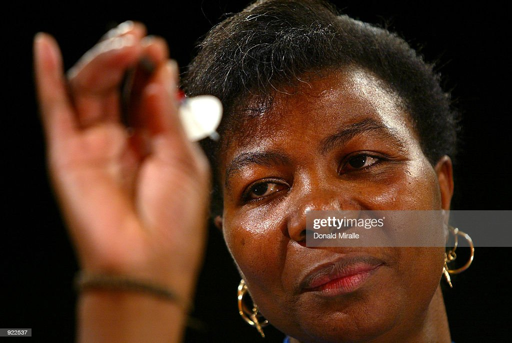 Deta Hedman of Great Britain aims her dart during the Women's Semi-Final of the Desert Classic Darts Championships on July 6, 2002 at the MGM Grand Hotel and Casino in Las Vegas, Nevada.