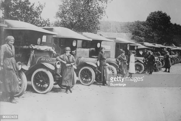 Detachment of British Women Ambulance Drivers line up at the ready to perform their duty after they ship out to the Battle Front in France during WWI
