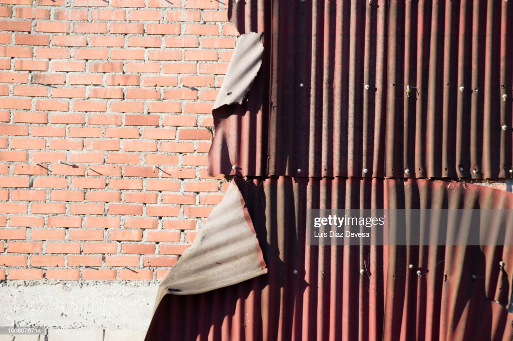 Detachment Of Red Corrugated Galvanized Metal Wall Stock