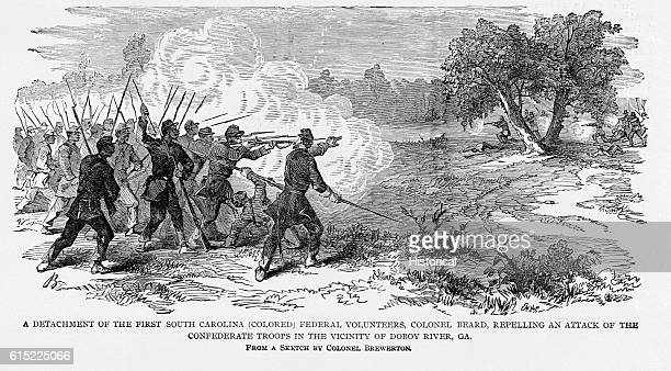 A detachment of the 1st South Carolina repells an attack by Confederate Troops in the vicinity of Doboy River Georgia | After Colonel Brewerton