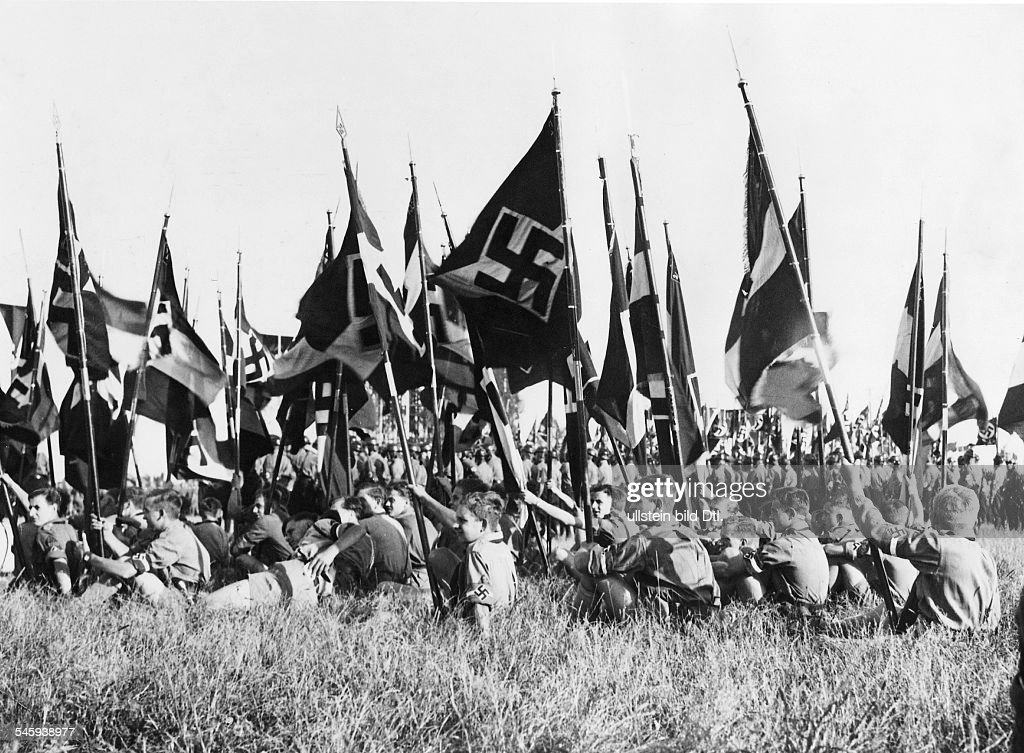 Detachments of the Hitler Youth with their flags at the 'Gautag' of