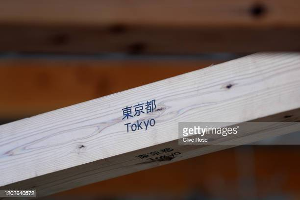 A detai view of the Athletes' Village Plaza as it opens to media on January 29 2020 in Tokyo Japan The Village Plaza was constructed using timber...